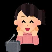 Radio happy woman